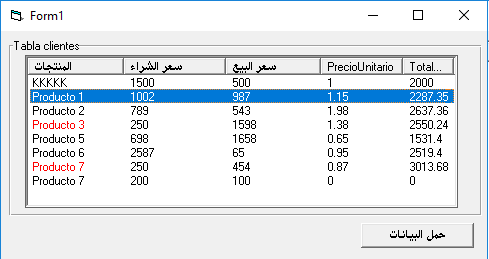 تمرير مجموعة سجلات ADO إلى عنصر تحكم ListView مع تمييز عناصر معينة بالألوان 918989902