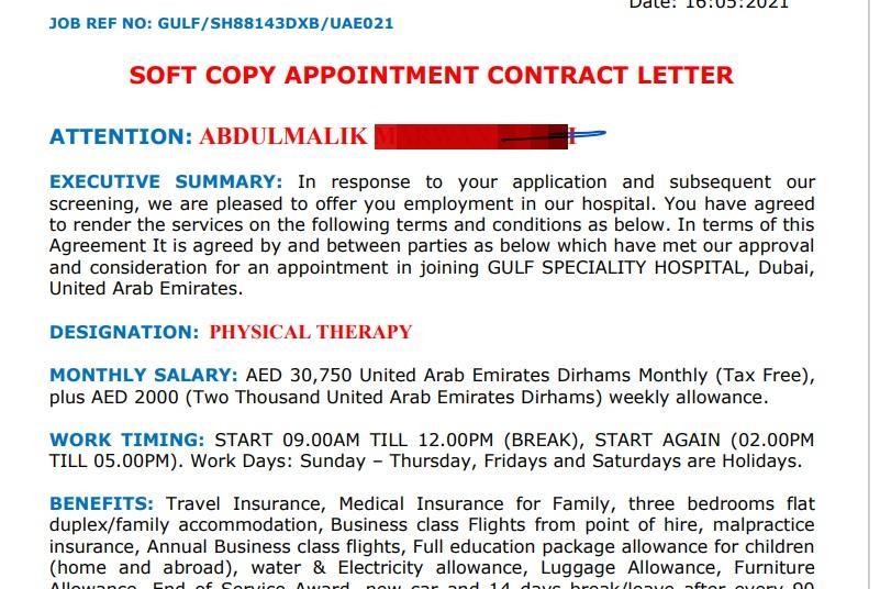 عرض عمل لابني في دبي تخصصه علاج طبيعي !!!!